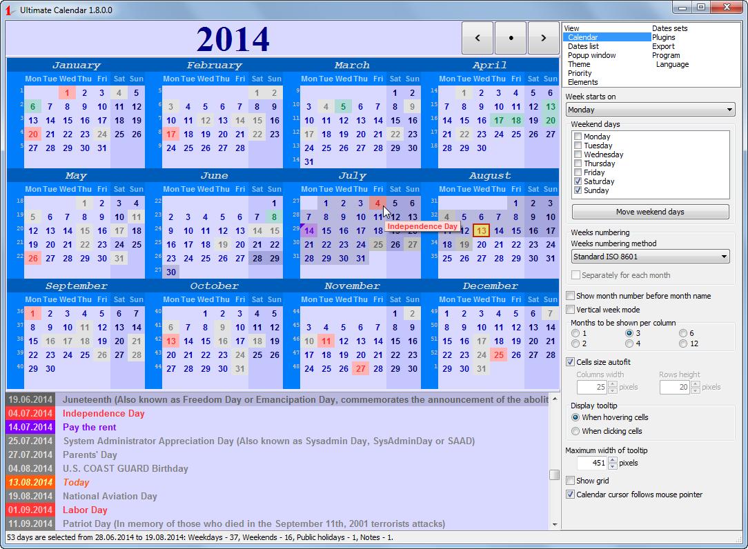 Ultimate Calendar full Windows 7 screenshot - Windows 7 Download